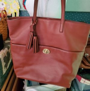 COACH XL PORT LEGACY LEATHER TURNLOCK TOTE